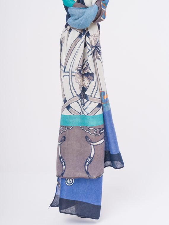 Шарф 50%хлопок,50%вискоза, цвет синий, арт. 15810302  - цена 940 руб.  - магазин TOTOGROUP