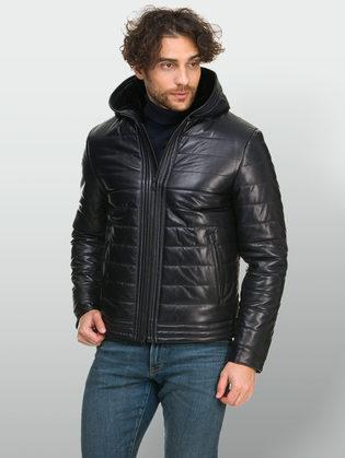 Кожаная куртка кожа овца, цвет синий, арт. 15901101  - цена 28490 руб.  - магазин TOTOGROUP