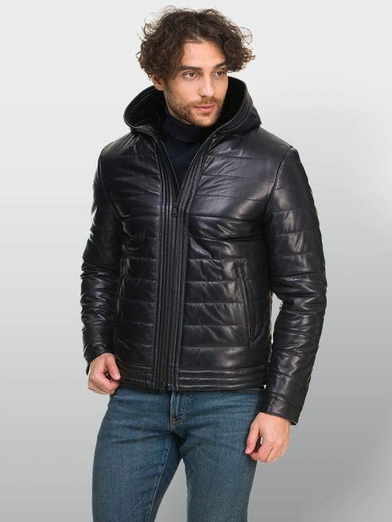 Кожаная куртка кожа , цвет темно-синий, арт. 15901101  - цена 19990 руб.  - магазин TOTOGROUP