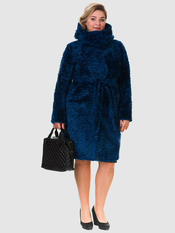 Шуба из мутона мех мутон, цвет синий, арт. 15901156  - цена 33990 руб.  - магазин TOTOGROUP