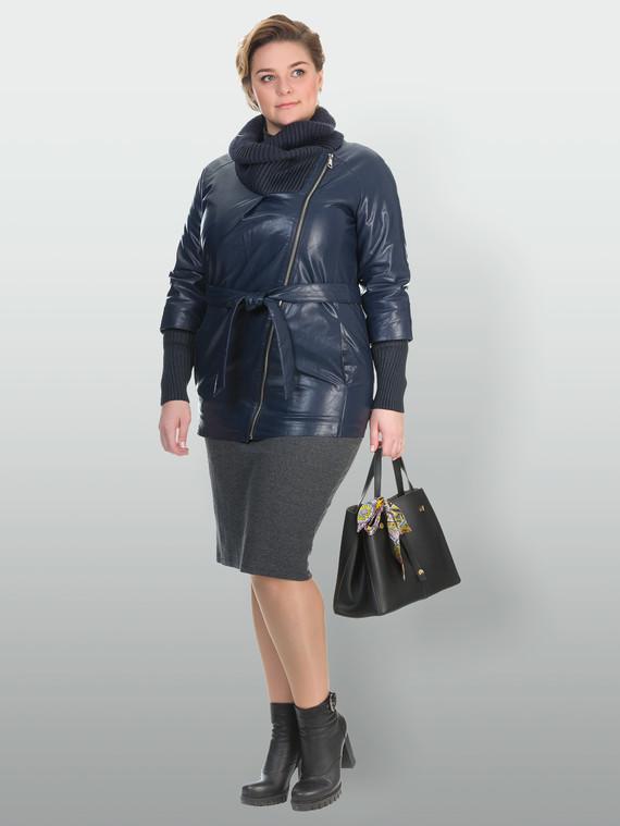 Кожаная куртка эко кожа 100% П/А, цвет синий, арт. 15902628  - цена 5290 руб.  - магазин TOTOGROUP