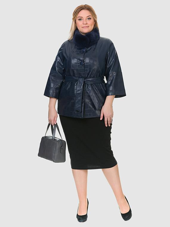 Кожаная куртка эко кожа 100% П/А, цвет синий, арт. 15902633  - цена 7990 руб.  - магазин TOTOGROUP