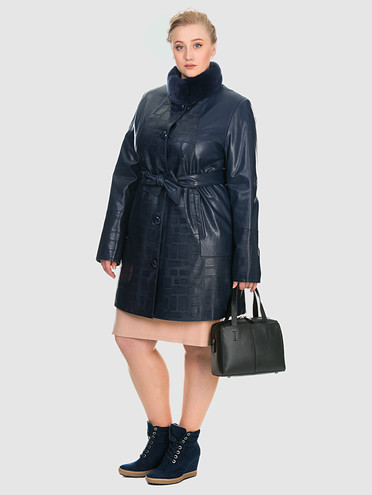 Кожаное пальто эко-кожа 100% П/А, цвет синий, арт. 15902634  - цена 3990 руб.  - магазин TOTOGROUP