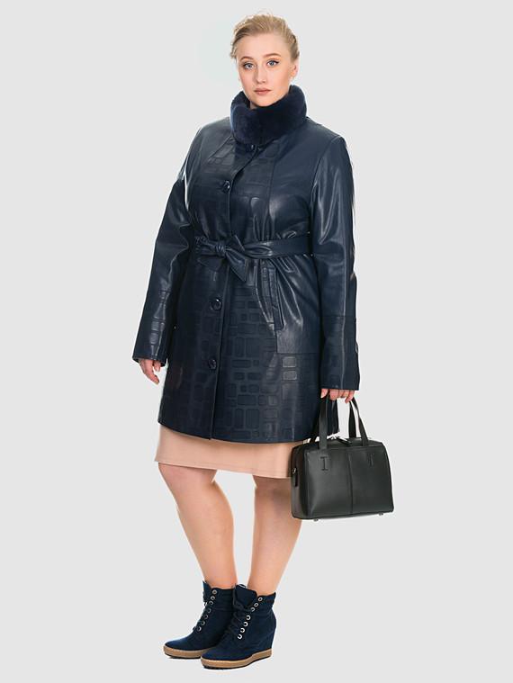 Кожаное пальто эко кожа 100% П/А, цвет синий, арт. 15902634  - цена 7990 руб.  - магазин TOTOGROUP