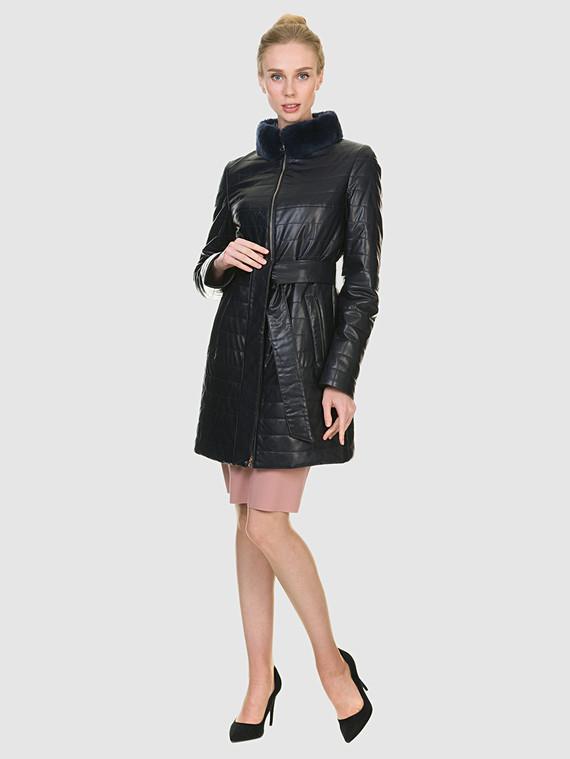 Кожаное пальто эко кожа 100% П/А, цвет синий, арт. 15902635  - цена 7990 руб.  - магазин TOTOGROUP