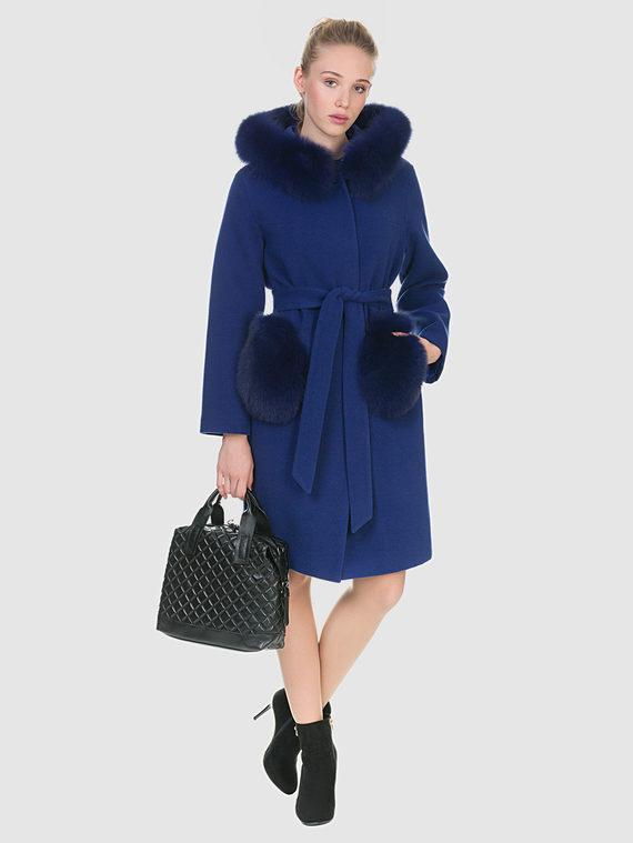 Текстильное пальто 50%шерсть, 50% п/а, цвет синий, арт. 15902694  - цена 8490 руб.  - магазин TOTOGROUP