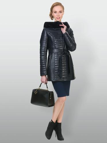 Кожаная куртка эко-кожа 100% П/А, цвет темно-синий, арт. 15902725  - цена 4740 руб.  - магазин TOTOGROUP
