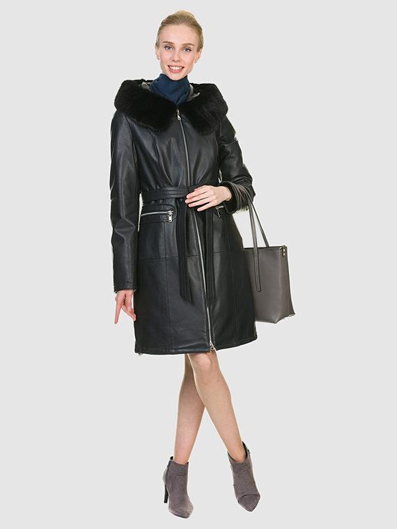 Кожаное пальто кожа баран, цвет синий, арт. 15902925  - цена 17990 руб.  - магазин TOTOGROUP