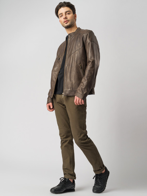 Кожаная куртка кожа , цвет коричневый, арт. 16003413  - цена 13390 руб.  - магазин TOTOGROUP