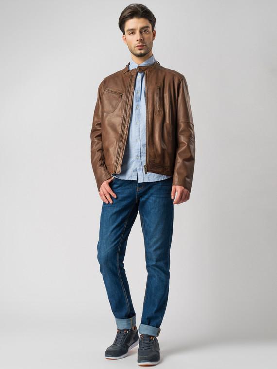 Кожаная куртка кожа , цвет темно-коричневый, арт. 16003416  - цена 13390 руб.  - магазин TOTOGROUP