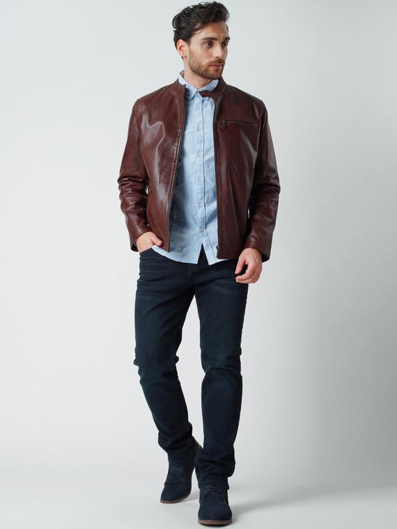 Кожаная куртка кожа , цвет темно-коричневый, арт. 16003424  - цена 13390 руб.  - магазин TOTOGROUP