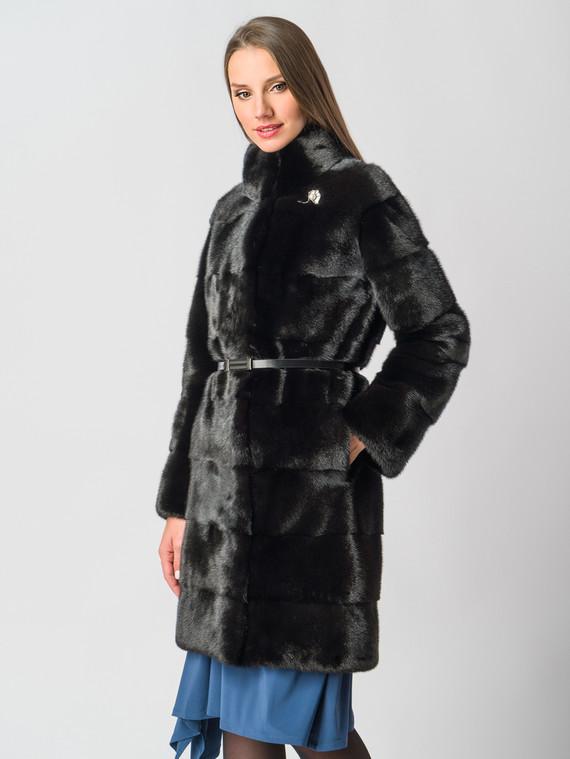Шуба из норки мех норка, цвет темно-коричневый, арт. 16006140  - цена 99990 руб.  - магазин TOTOGROUP