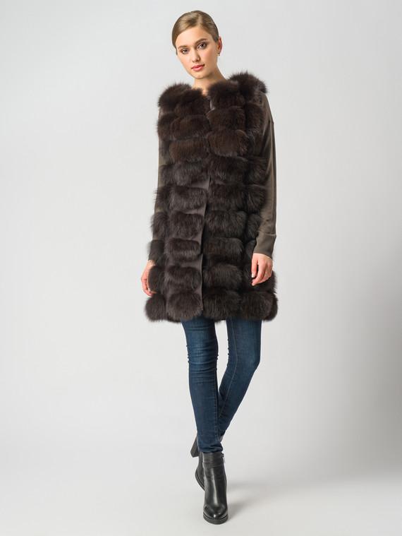 Меховой жилет мех песец, цвет темно-коричневый, арт. 16006361  - цена 19990 руб.  - магазин TOTOGROUP