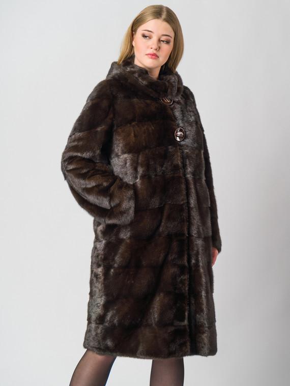 Шуба из норки мех норка, цвет темно-коричневый, арт. 16006391  - цена 89990 руб.  - магазин TOTOGROUP