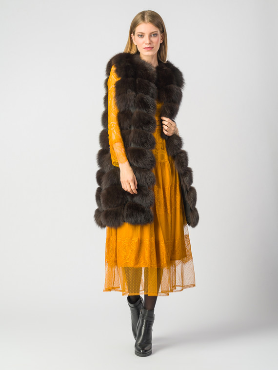 Меховой жилет мех песец, цвет темно-коричневый, арт. 16006551  - цена 21290 руб.  - магазин TOTOGROUP