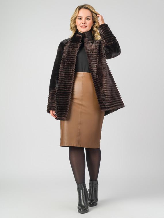 Шуба из мутона мех мутон, цвет темно-коричневый, арт. 16006623  - цена 14990 руб.  - магазин TOTOGROUP