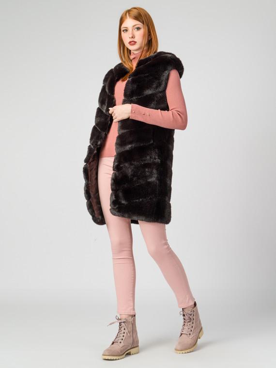Меховой жилет мех под кролика, цвет темно-коричневый, арт. 16006828  - цена 7990 руб.  - магазин TOTOGROUP