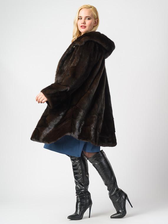 Шуба из норки мех норка, цвет темно-коричневый, арт. 16006907  - цена 84990 руб.  - магазин TOTOGROUP