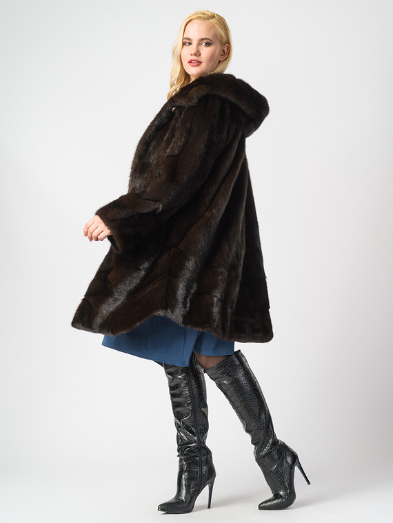 Шуба из норки мех норка, цвет темно-коричневый, арт. 16006907  - цена 105990 руб.  - магазин TOTOGROUP