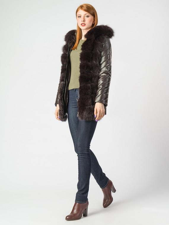 Кожаная куртка эко-кожа 100% П/А, цвет темно-коричневый, арт. 16007012  - цена 14190 руб.  - магазин TOTOGROUP