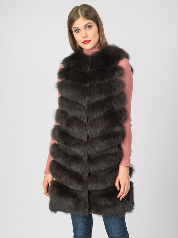 Меховой жилет мех песец, цвет темно-коричневый, арт. 16007050  - цена 21290 руб.  - магазин TOTOGROUP