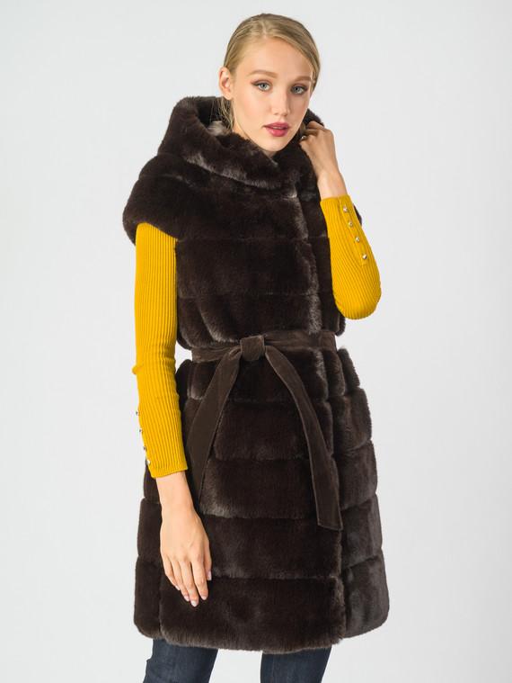 Меховой жилет мех под кролика, цвет темно-коричневый, арт. 16007071  - цена 8990 руб.  - магазин TOTOGROUP