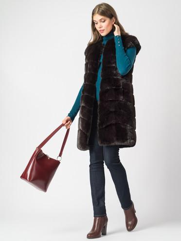 Меховой жилет мех под кролика, цвет темно-коричневый, арт. 16007073  - цена 11290 руб.  - магазин TOTOGROUP