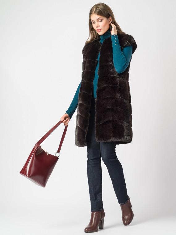Меховой жилет мех под кролика, цвет темно-коричневый, арт. 16007073  - цена 7990 руб.  - магазин TOTOGROUP