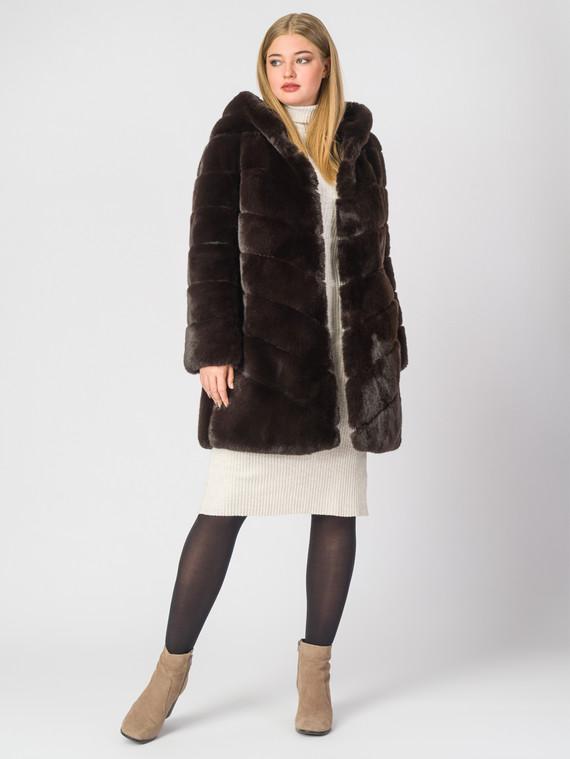 Шуба под кролика мех под кролика, цвет темно-коричневый, арт. 16007074  - цена 14190 руб.  - магазин TOTOGROUP