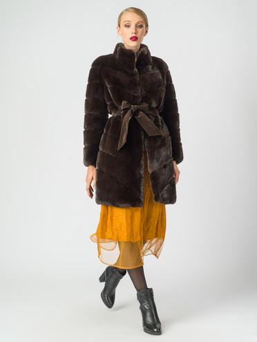 Шуба мех искусственный под кролика, цвет темно-коричневый, арт. 16007077  - цена 5590 руб.  - магазин TOTOGROUP