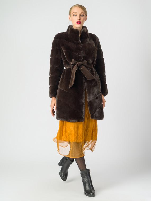 Шуба под кролика мех искусственный под кролика, цвет темно-коричневый, арт. 16007077  - цена 6630 руб.  - магазин TOTOGROUP