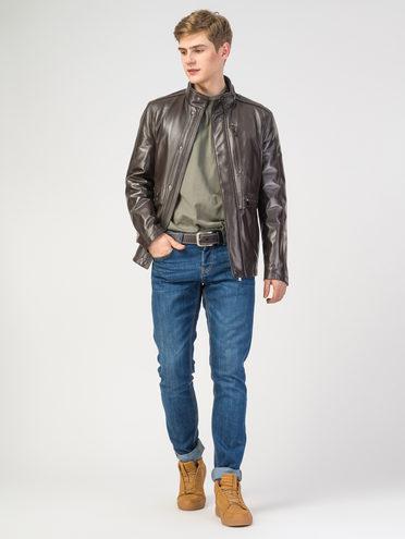 Кожаная куртка кожа, цвет темно-коричневый, арт. 16108229  - цена 9990 руб.  - магазин TOTOGROUP
