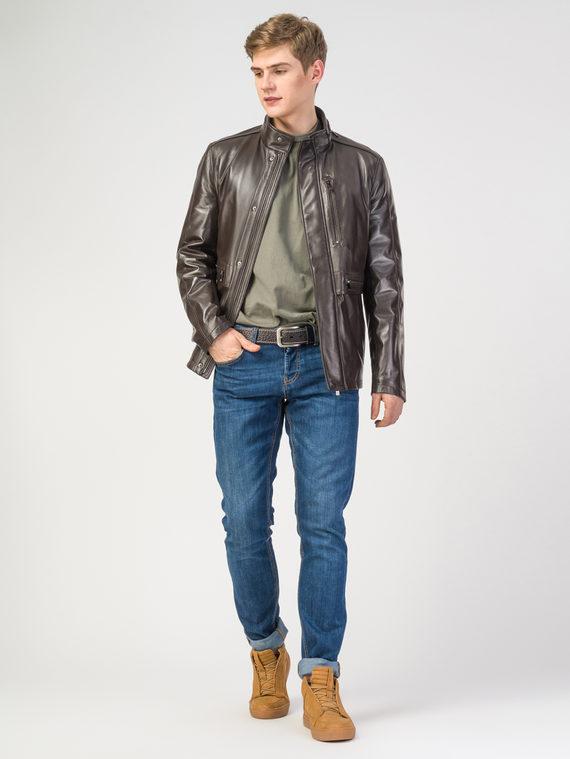 Кожаная куртка кожа , цвет темно-коричневый, арт. 16108229  - цена 18990 руб.  - магазин TOTOGROUP