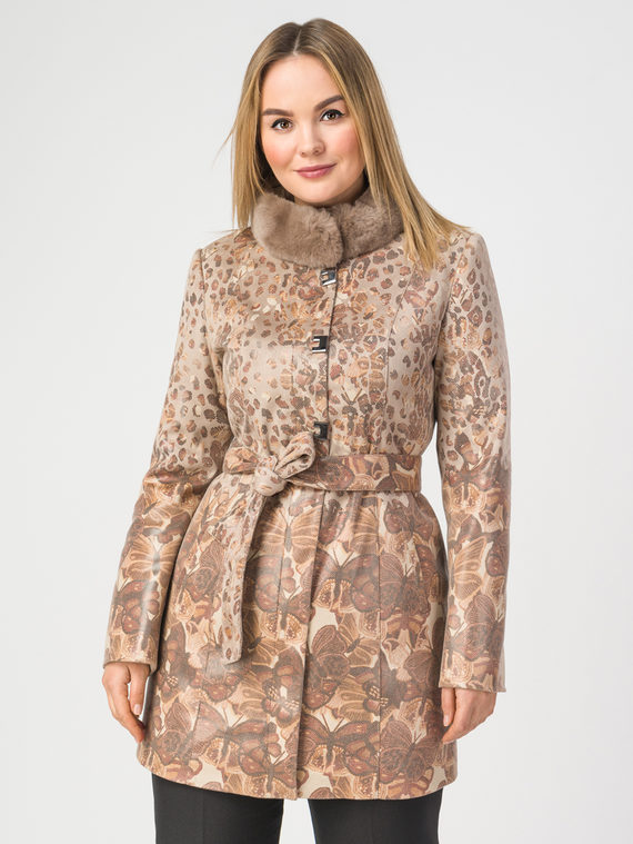 Кожаное пальто эко-замша 100% П/А, цвет светло-коричневый, арт. 16108281  - цена 8990 руб.  - магазин TOTOGROUP