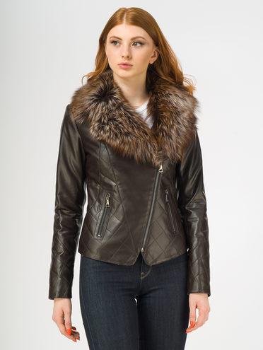 Кожаная куртка эко-кожа 100% П/А, цвет темно-коричневый, арт. 16108569  - цена 9990 руб.  - магазин TOTOGROUP