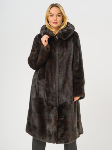 Шуба из норки мех норка, цвет темно-коричневый, арт. 16108862  - цена 112990 руб.  - магазин TOTOGROUP