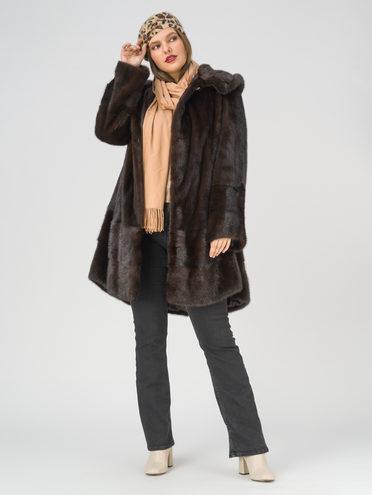 Шуба из норки мех норка, цвет темно-коричневый, арт. 16108863  - цена 99990 руб.  - магазин TOTOGROUP