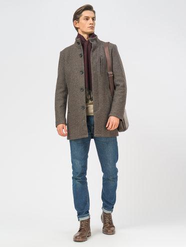 Текстильное пальто 49% шерсть, 51% п.э, цвет темно-коричневый, арт. 16108966  - цена 6990 руб.  - магазин TOTOGROUP