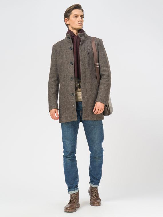 Текстильное пальто 49% шерсть, 51% п.э, цвет темно-коричневый, арт. 16108966  - цена 4990 руб.  - магазин TOTOGROUP