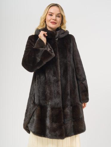 Шуба из норки мех норка, цвет темно-коричневый, арт. 16109060  - цена 99990 руб.  - магазин TOTOGROUP