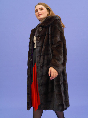 Шуба мех норка крашен., цвет темно-коричневый, арт. 16109084  - цена 79990 руб.  - магазин TOTOGROUP