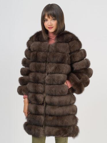 Шуба мех песец крашен., цвет темно-коричневый, арт. 16109372  - цена 19990 руб.  - магазин TOTOGROUP