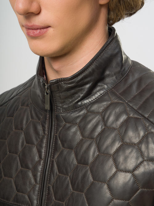 Кожаная куртка артикул 16109529/48 - фото 4
