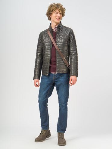 Кожаная куртка кожа, цвет темно-коричневый, арт. 16109529  - цена 18990 руб.  - магазин TOTOGROUP