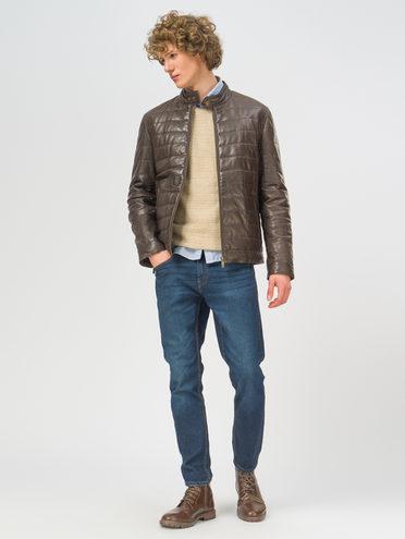 Кожаная куртка кожа, цвет темно-коричневый, арт. 16109530  - цена 18990 руб.  - магазин TOTOGROUP