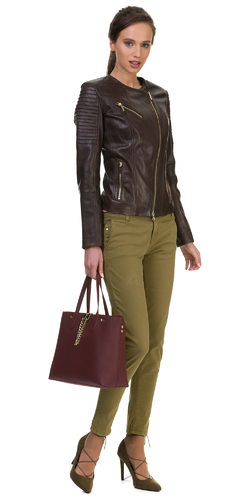 Кожаная куртка кожа овца, цвет темно-коричневый, арт. 16700036  - цена 10990 руб.  - магазин TOTOGROUP