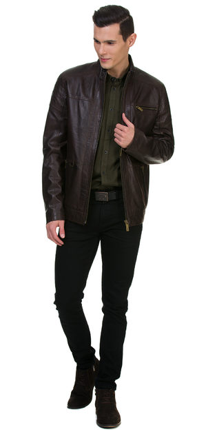 Кожаная куртка кожа овца, цвет темно-коричневый, арт. 16700061  - цена 15990 руб.  - магазин TOTOGROUP