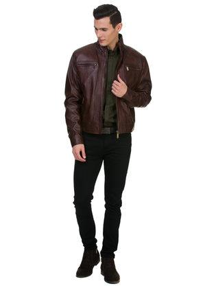 Кожаная куртка кожа овца, цвет темно-коричневый, арт. 16700062  - цена 14990 руб.  - магазин TOTOGROUP