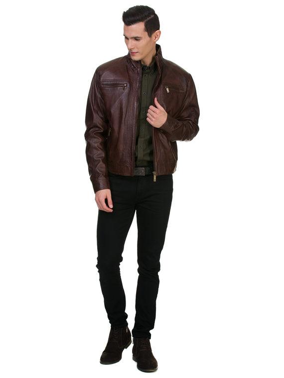 Кожаная куртка кожа , цвет темно-коричневый, арт. 16700062  - цена 14990 руб.  - магазин TOTOGROUP