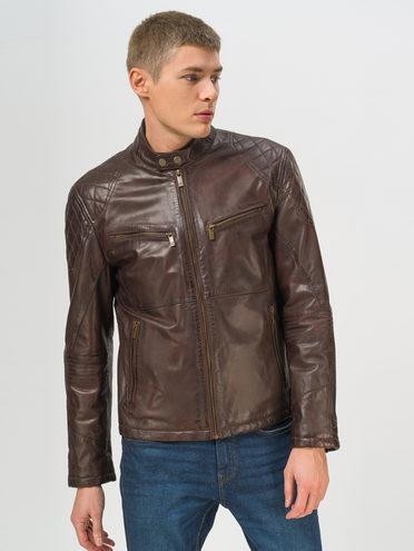 Кожаная куртка кожа, цвет темно-коричневый, арт. 16809211  - цена 12690 руб.  - магазин TOTOGROUP